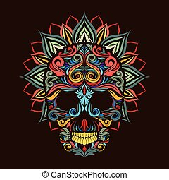 Skull and Lotus Flower