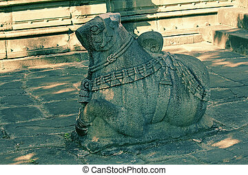 Nandi at Changwateshwar Temple near Saswad, Maharashtra,...