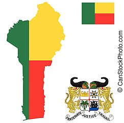 Benin Flag - Flag and national coat of arms of the Republic...