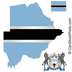 Botswana Flag - Flag and national coat of arms of the...
