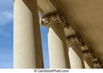 Pillars of Law and Justice with Blue Sky