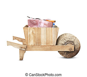 Old Wooden Cart isolated on white background.