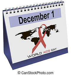 World AIDS day calendar - Desktop calendar with World AIDS...