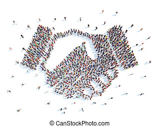 People in the form of a handshake. - Large group of people...