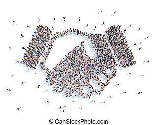 gens, dans, les, Formulaire, de, a, handshake.,