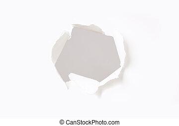 pared, agujero, papel
