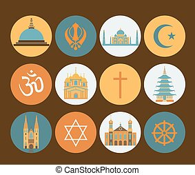 Religion icon set Vector illustration
