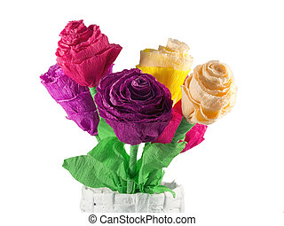 Paper flowers - Bouquet of paper roses in a paper vase