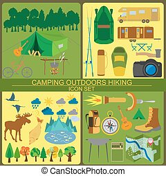 Set camping icon, hiking, outdoors Vector illustration