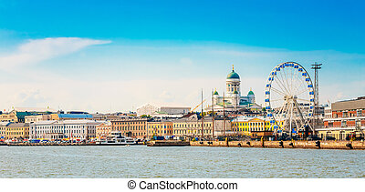 Panorama Of Embankment In Helsinki At Summer Sunset Evening,...