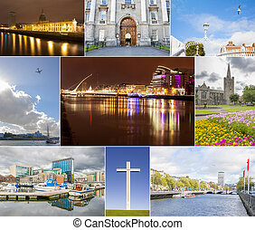 Dublin photos collage with different landmarks of the city