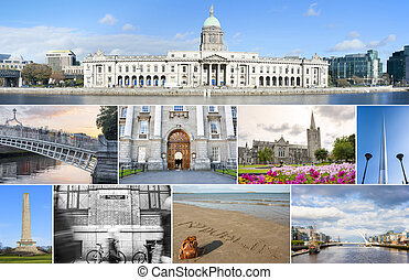 Dublin landmarks set - Collage of different landmarks in...