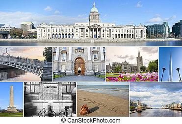 Dublin landmarks set - Collage of different landmarks in...