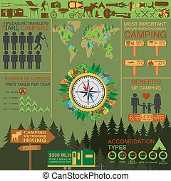 Camping outdoors hiking infographics. Set elements for...