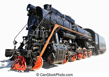Locomotive - Old steam locomotive made of cast iron have a...