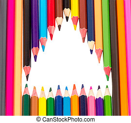 Many colored pencils on a white background isolated