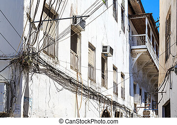 electricidad, cable, enredado, en, un, viejo, colonial,...