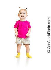 standing baby girl in tshirt isolated - standing baby girl...