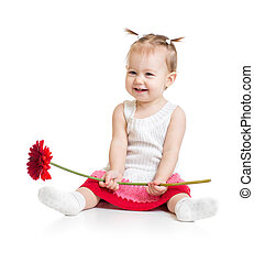 Adorable baby girl sitting with flower isolated - Baby girl...
