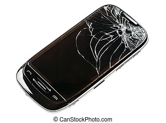 Smart Phone With Cracked Broken Screen Isolated Over White...