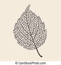 elegance birch leaf - Beautiful elegance stylized leaf ,...