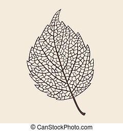 elegance birch leaf - Beautiful elegance stylized leaf ,...