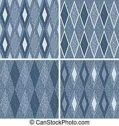 pattern with denim jeans background - Set seamless pattern...
