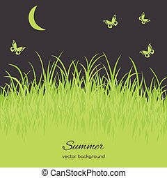 Spring card with grass on white background