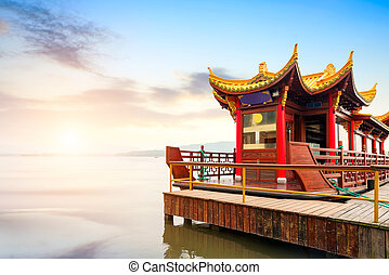 Hangzhou - Traditional ship at the Xihu West lake, Hangzhou,...