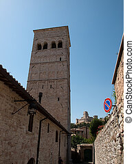 Assisi-Italy - The tower of St. Rufinus Cathedral in Assisi...