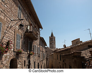 Assisi-Italy - The tower of St.Claire Basilica in Assisi