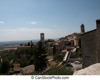 Assisi-Italy - View of Santa Maria Maggiore Church in Assisi