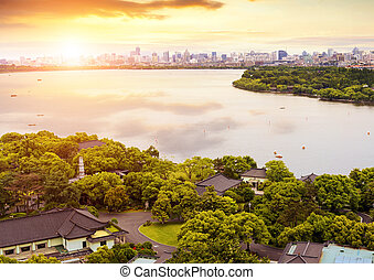 China Hangzhou West Lake - Aerial View of the West Lake and...