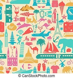 Travel background Vacations Beach resort seamless pattern...