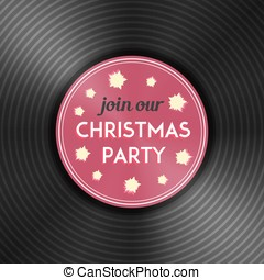Christmas party flyer with vinyl record. Vector