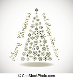 Happy New Year, composition tree of snowflakes with lettering
