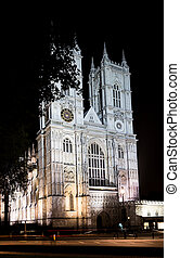 Westminster abbey, London, England, at night