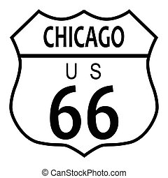 Route 66 Chicago - Route 66 traffic sign over a white...