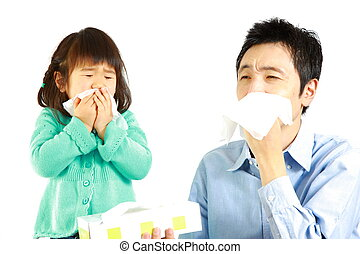 sneezing father and daughter%u3000 - portrait of sneezing...
