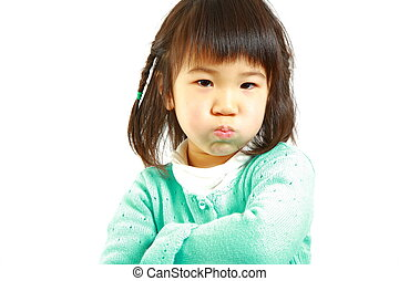 bad mood Japanese little girl - portrait of bad mood...