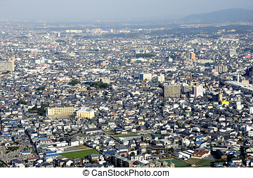 Osaka in birdview - Aerial view of suburbs of Osaka, Japan