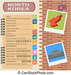 North Korea infographics, statistical data, sights Vector...