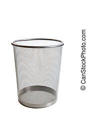 Empty mesh wastebasket - An empty wire mesh trash can on...