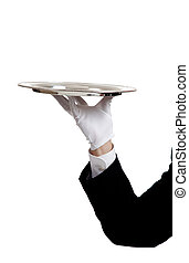 Waiters Arm holding a serving tray - A waiters arem with a...