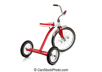 A red Tricycle on White - A childs red tricycle on a white...