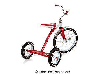 Um, vermelho, triciclo, branca