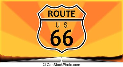 Route Sixty Six - Route sixty six highway sign over a long...