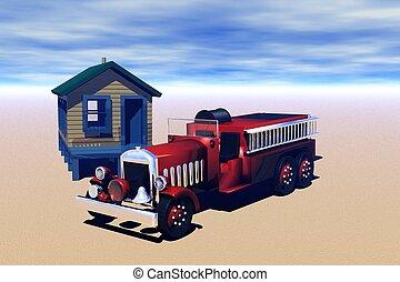 fuoco, vecchio, camion