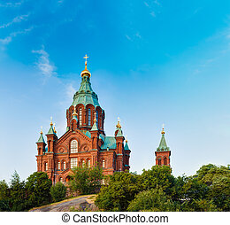 Uspenski Cathedral, Helsinki At Summer Sunny Day. Red Church...