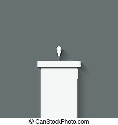 podium, à, microphone,